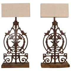 Pair of 18th Century Balustrade Lamps on Wooden Bases