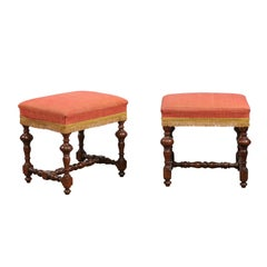 Pair of 18th Century Baroque Style Italian Walnut Benches