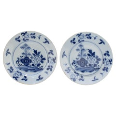 Pair of 18th Century Bristol English Delft Pottery Plates with Peony Decoration