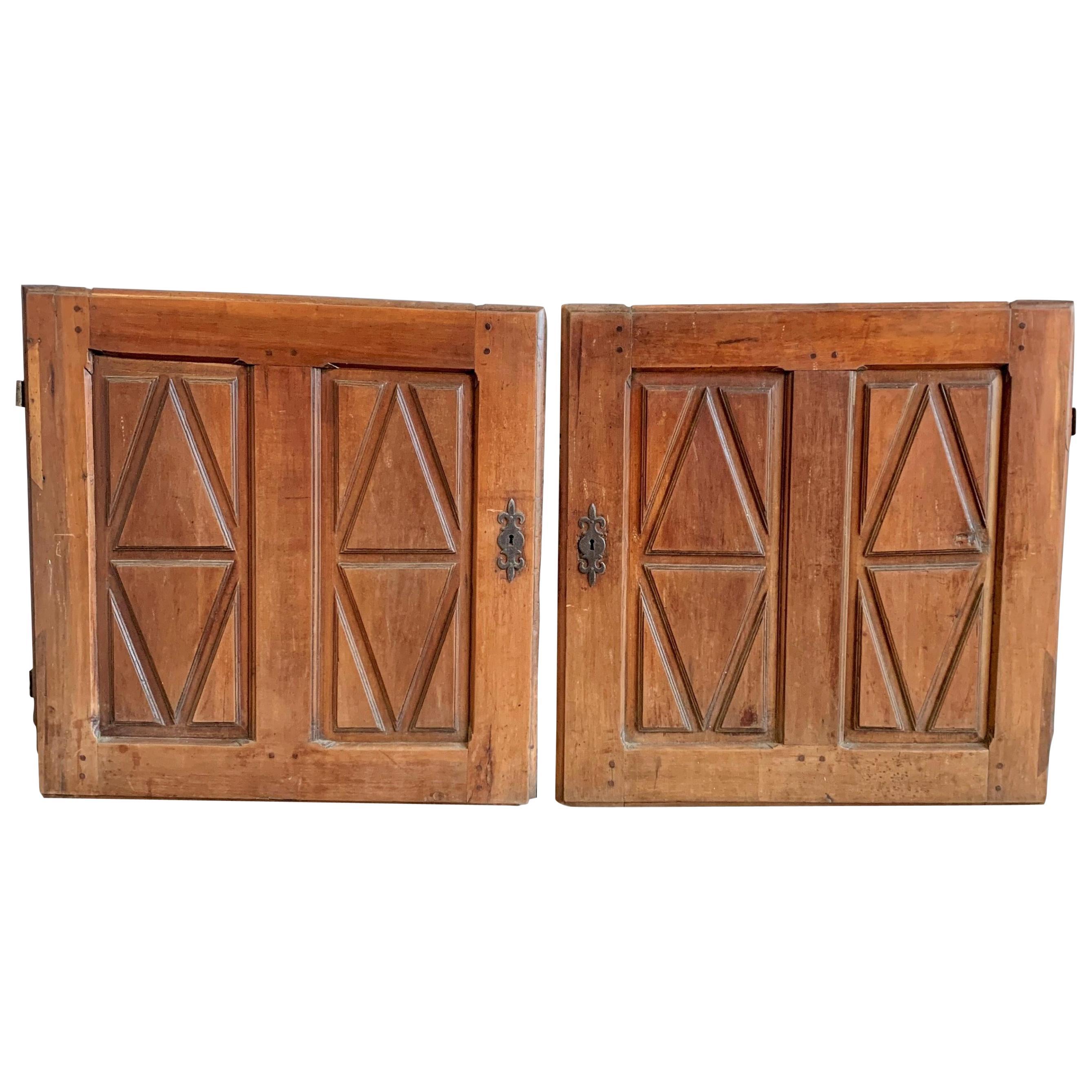 Pair of 18th Century Cabinet Doors, Cherry