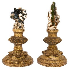 Pair of 18th Century Candlestick Fragments with Tourmaline in Matrix