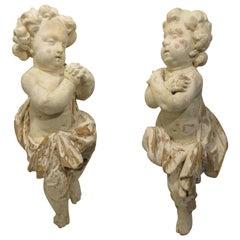 Pair of 18th Century Carved Wooden Cherubs