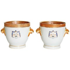 Pair of 18th Century Chinese Export Armorial Wine Coolers