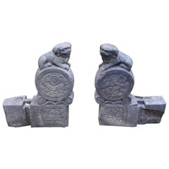 Pair of 18th Century Chinese Foo Dog Stone Carvings