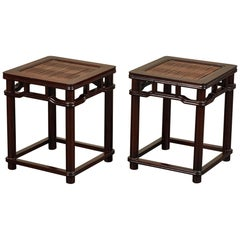 Pair of 18th Century Chinese Iron Wood Tables W/ Slated Bamboo Tops