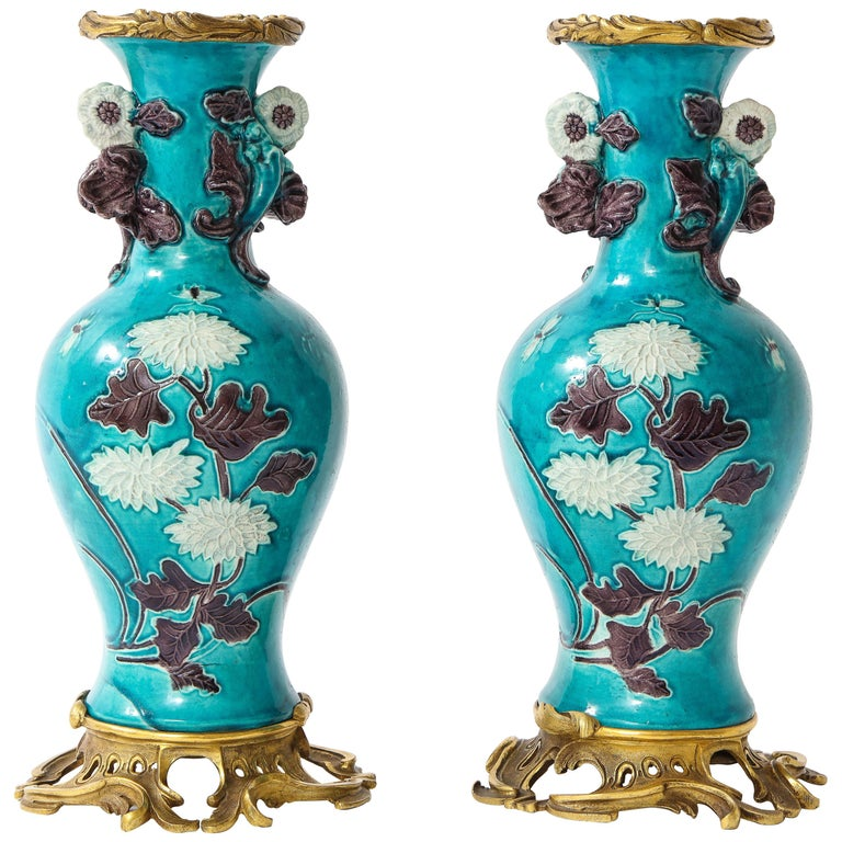 Pair of 18th Century Chinese Porcelain Vases with French Doré Bronze Mounts For Sale