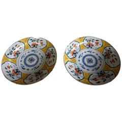 Pair of 18th Century Chinese Style Dutch Ceramic Plate Chargers with Rare Yellow