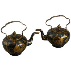 Pair of 18th Century Chinoiserie Tole Tea Pots