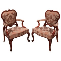 Pair of 18th Century Chippendale Mahogany Library Armchairs