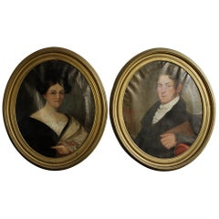 Pair of 18th Century Colonial Oil Paintings Husband Wife American Oval Portrait