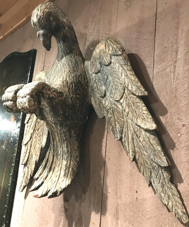 European Pair of 18th Century Continental Carved Wooden Eagles For Sale