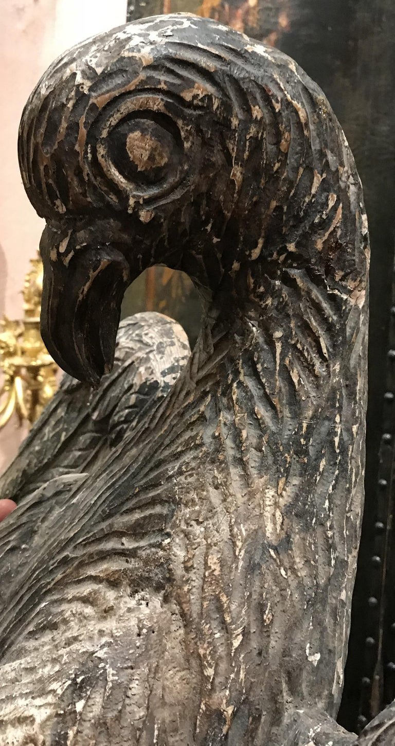 Pair of 18th Century Continental Carved Wooden Eagles For Sale 1