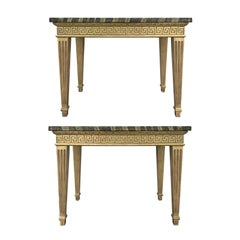 Pair of 18th Century Continental Giltwood Consoles, Greek Key Freize, Fluted Leg