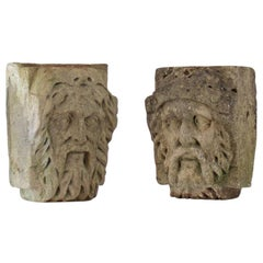 Pair of 18th Century Cotswold Stone Heads Depicting Bearded River Gods
