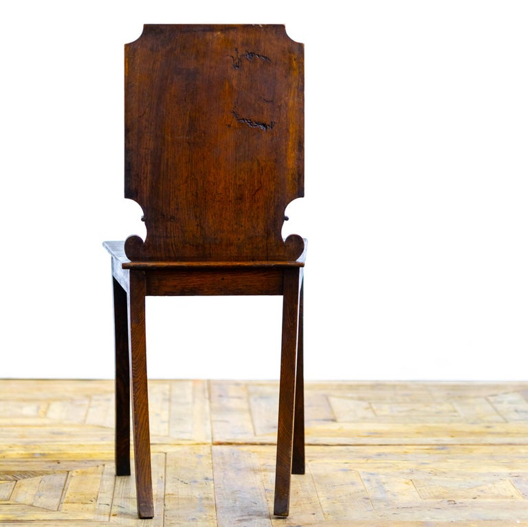 British Pair of 18th Century Country House Hall Chairs For Sale