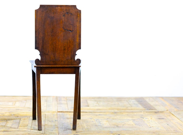 Polished Pair of 18th Century Country House Hall Chairs For Sale