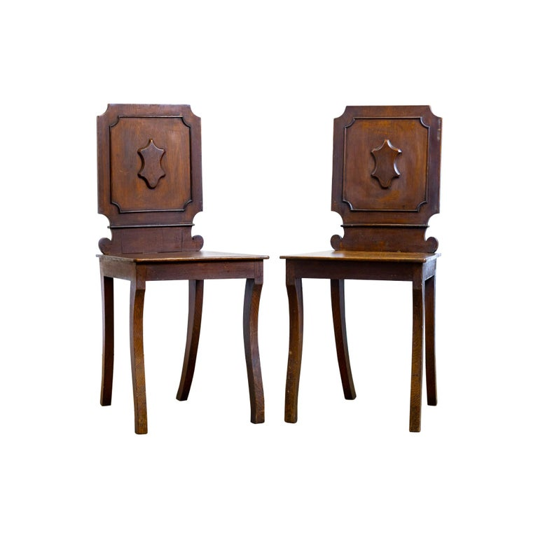 Pair of 18th Century Country House Hall Chairs For Sale