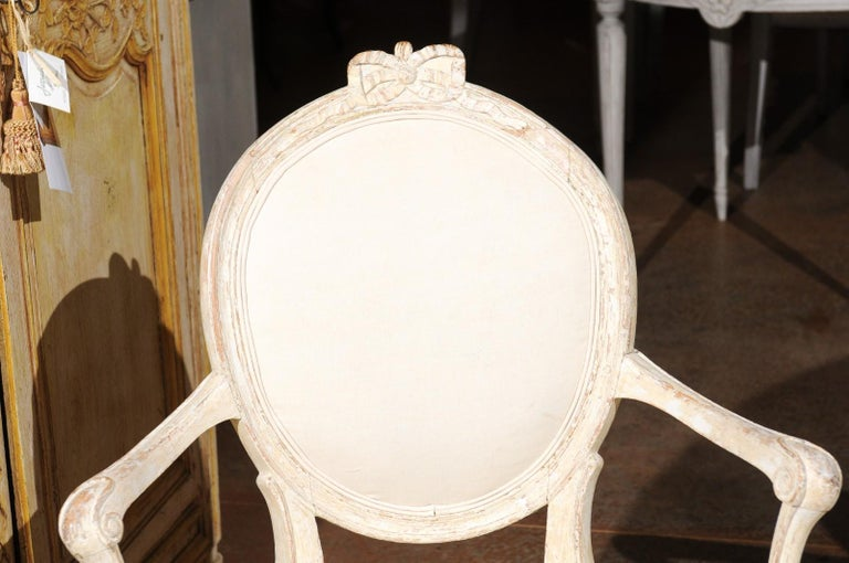 Pair of 18th Century Danish Louis XVI Painted Wood Armchairs with New Upholstery For Sale 5