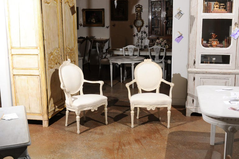 Carved Pair of 18th Century Danish Louis XVI Painted Wood Armchairs with New Upholstery For Sale