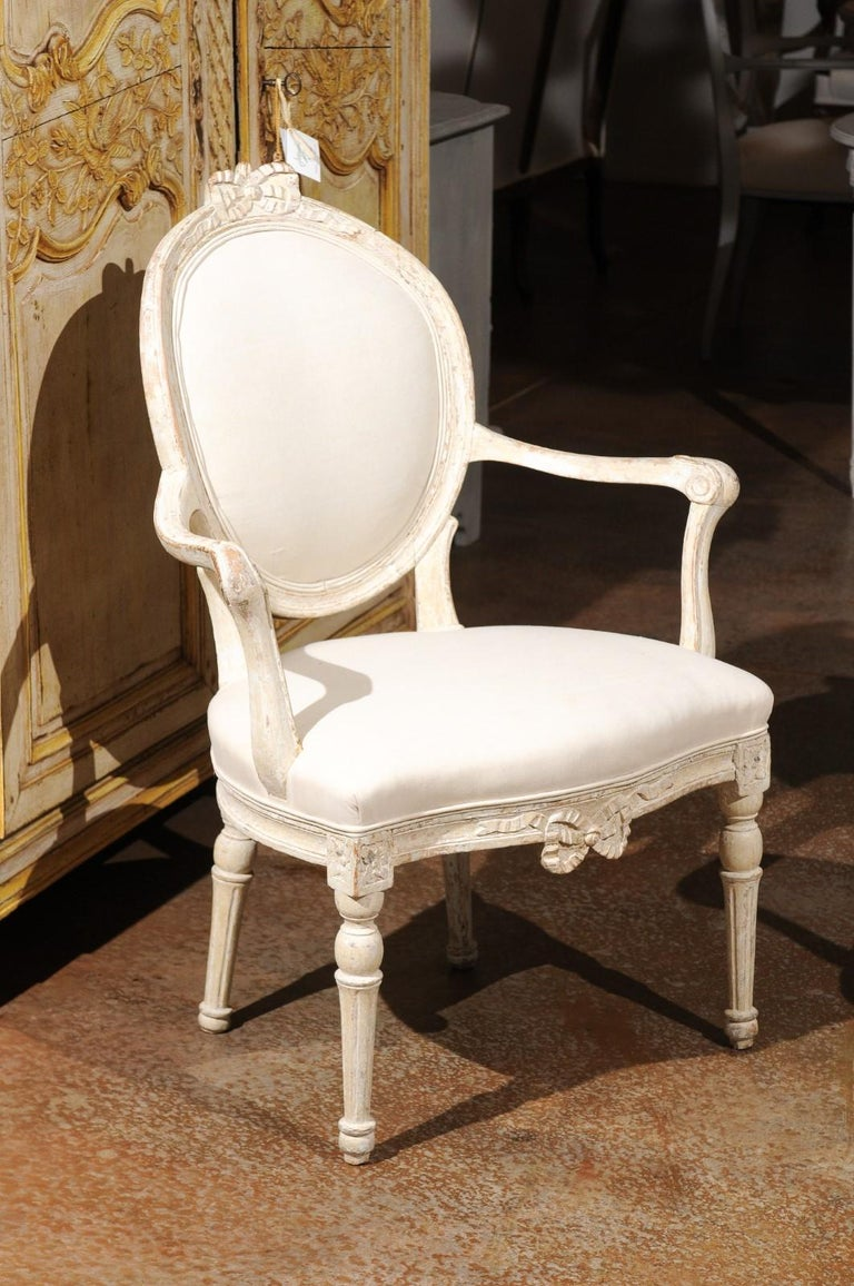 Pair of 18th Century Danish Louis XVI Painted Wood Armchairs with New Upholstery In Good Condition For Sale In Atlanta, GA
