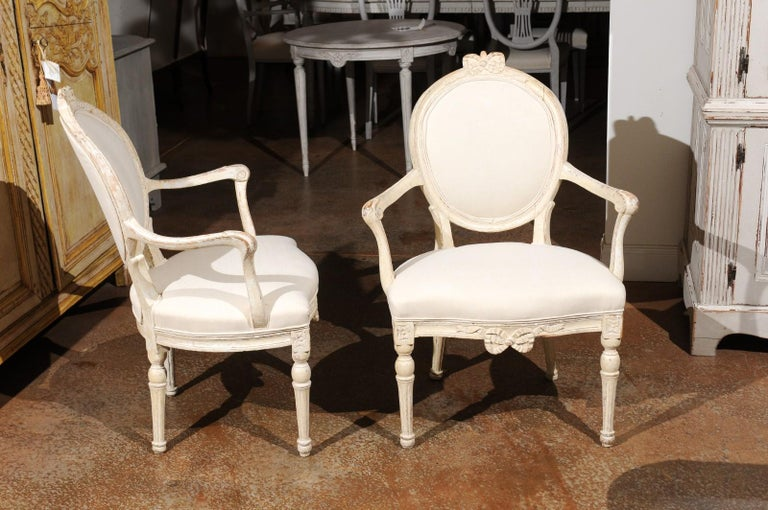 18th Century and Earlier Pair of 18th Century Danish Louis XVI Painted Wood Armchairs with New Upholstery For Sale