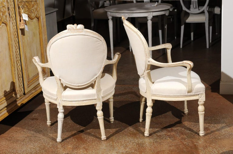 Pair of 18th Century Danish Louis XVI Painted Wood Armchairs with New Upholstery For Sale 1