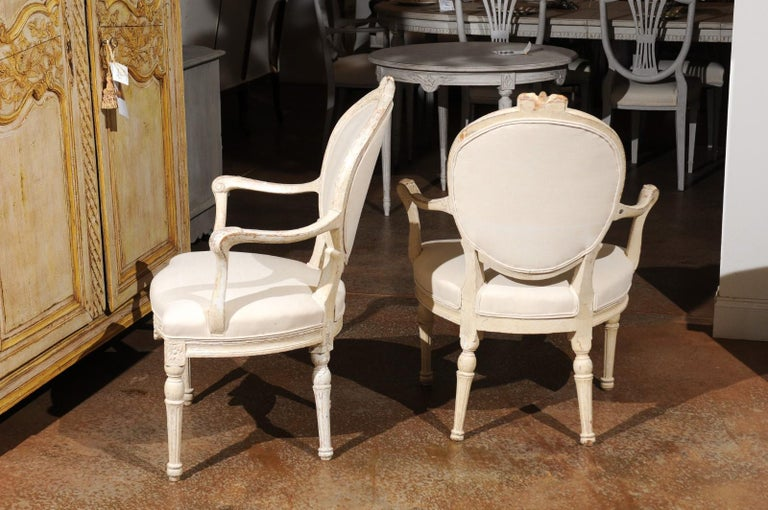 Pair of 18th Century Danish Louis XVI Painted Wood Armchairs with New Upholstery For Sale 2