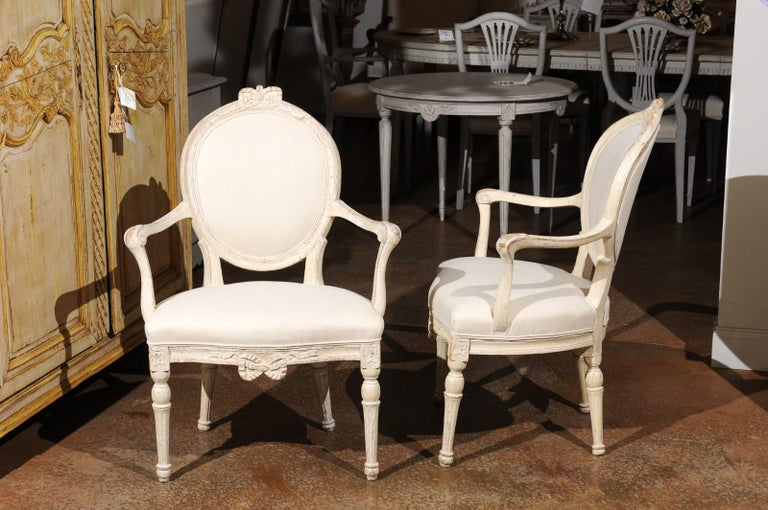 Pair of 18th Century Danish Louis XVI Painted Wood Armchairs with New Upholstery For Sale 3