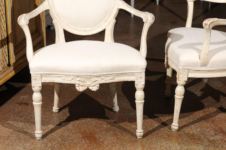 Pair of 18th Century Danish Louis XVI Painted Wood Armchairs with New Upholstery For Sale 4