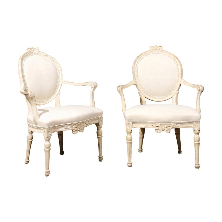 Pair of 18th Century Danish Louis XVI Painted Wood Armchairs with New Upholstery For Sale