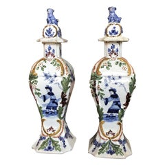 Pair of 18th Century Delft Lidded Jars, Chinoiserie Decor