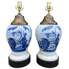 Pair of 18th Century Delft Tobacco Jars as Lamps