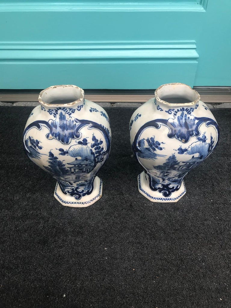 18th Century and Earlier Pair of 18th Century Delft Urns, Signed For Sale