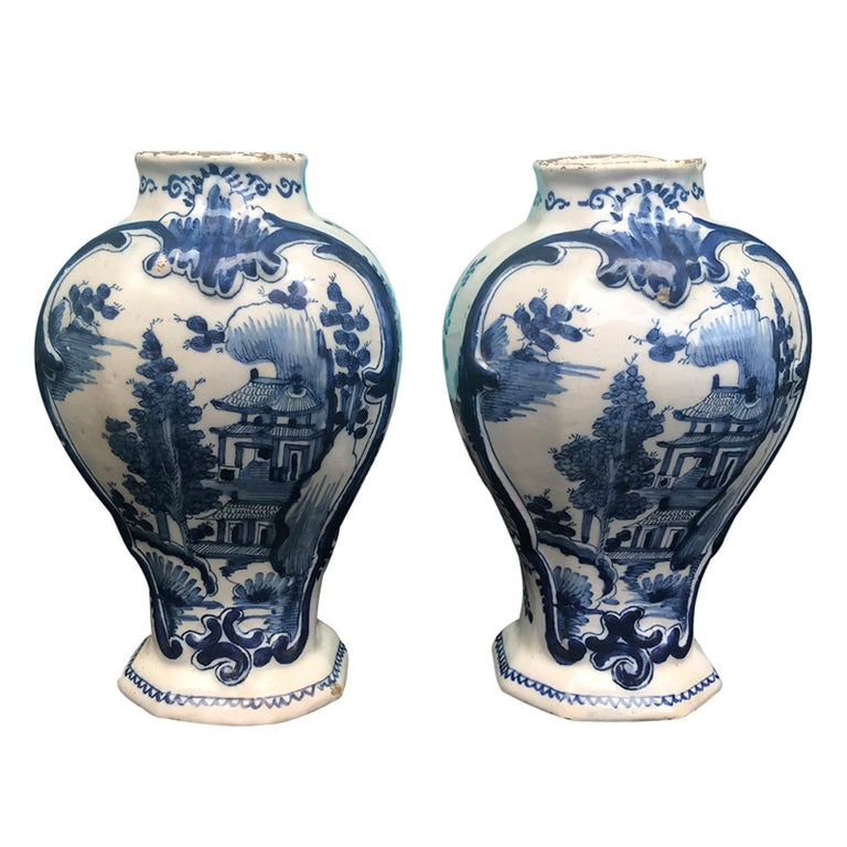 Pair of 18th Century Delft Urns, Signed For Sale