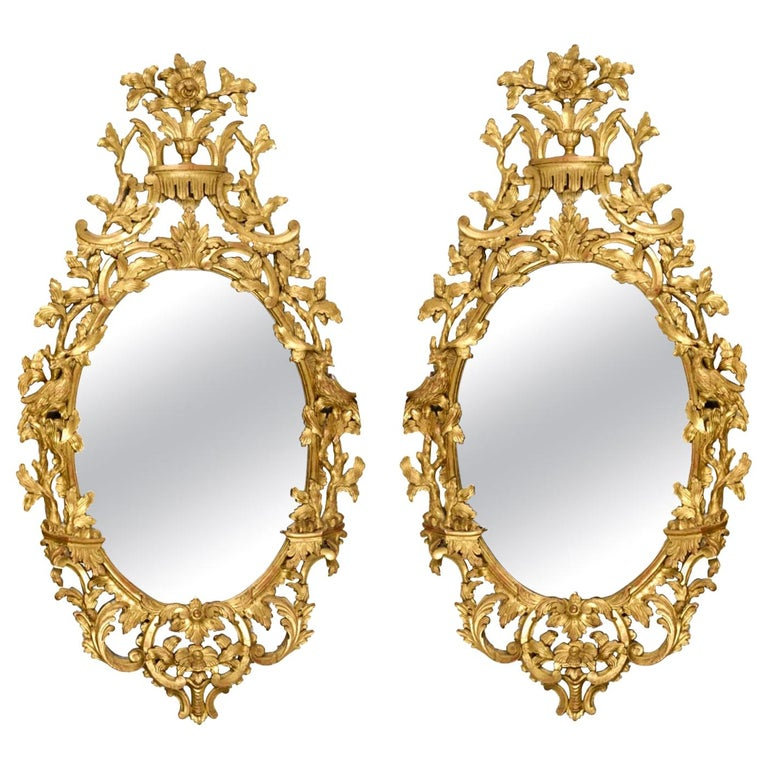 Pair of 18th Century Dutch Carved Giltwood Wall Mirrors For Sale