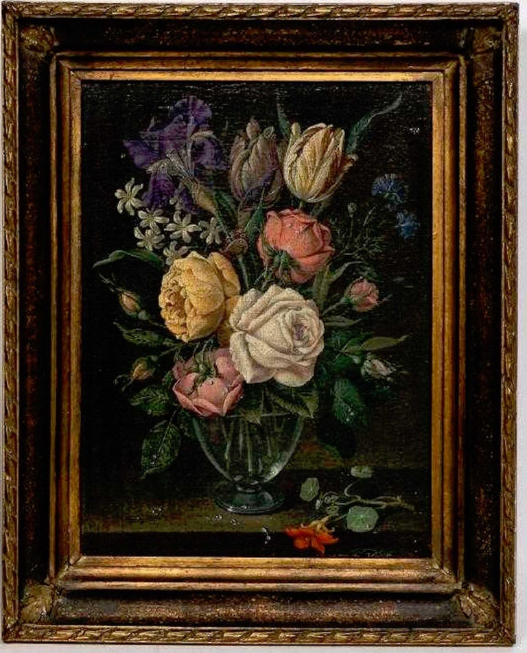 A pair of 18th century Dutch floral still life paintings on canvas, later frames, each one finely painted of flowers, butterflies and water detail. Expertly restored and relined, in later custom frames. Measures: 14