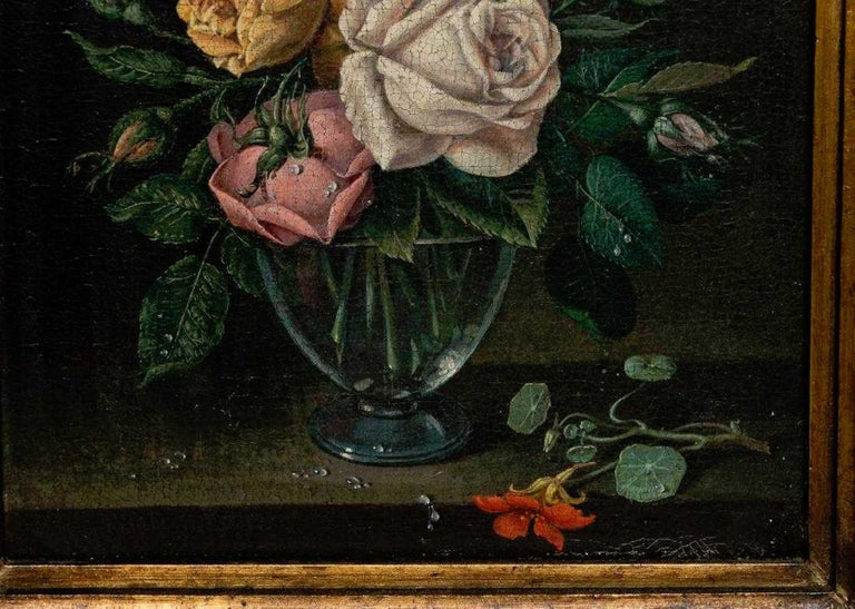 Baroque Pair of 18th Century Dutch Floral Still Life Paintings on Canvas, Later Frames For Sale