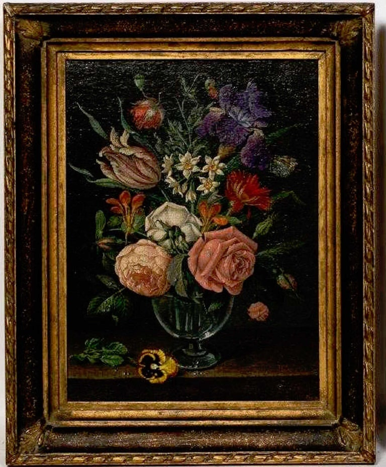 Hand-Painted Pair of 18th Century Dutch Floral Still Life Paintings on Canvas, Later Frames For Sale