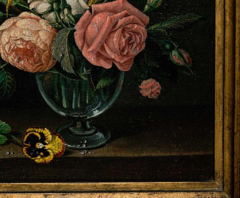 Pair of 18th Century Dutch Floral Still Life Paintings on Canvas, Later Frames In Good Condition For Sale In West Palm Beach, FL