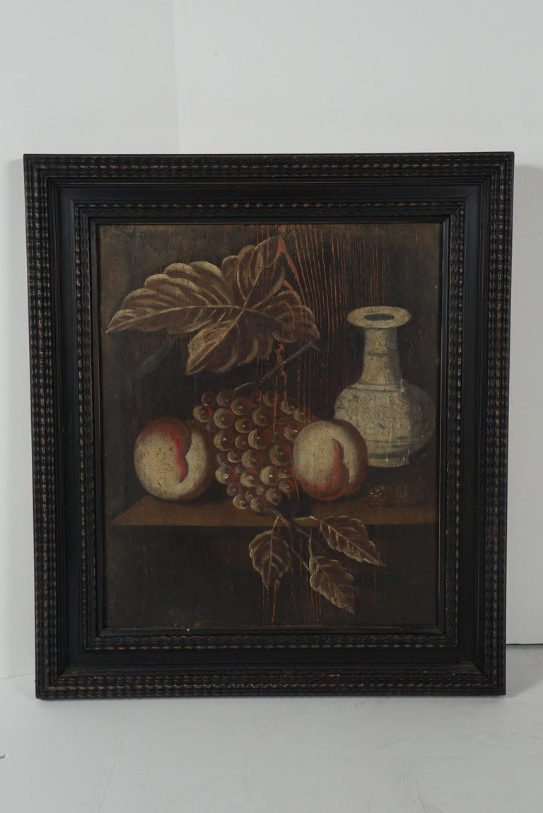 Pair of 18th Century Dutch Painted Still Lifes on Panels In Good Condition For Sale In Hudson, NY