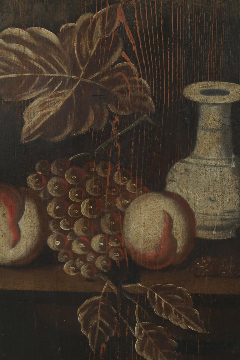 Wood Pair of 18th Century Dutch Painted Still Lifes on Panels For Sale