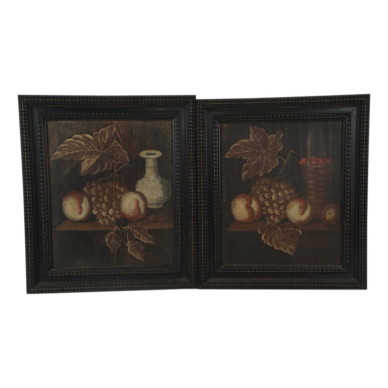 Pair of 18th Century Dutch Painted Still Lifes on Panels For Sale