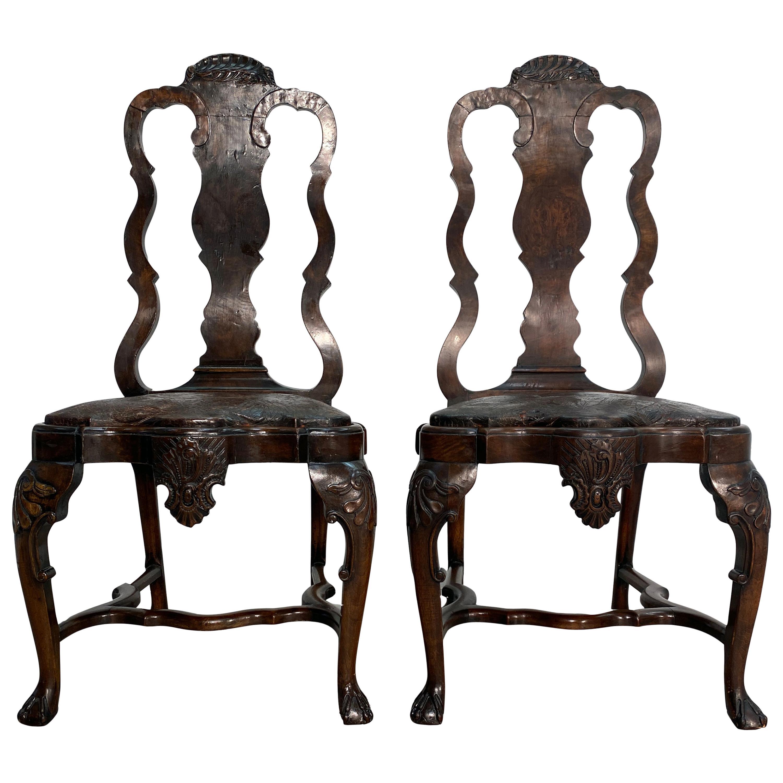 Pair of 18th Century Dutch Walnut Side Chairs