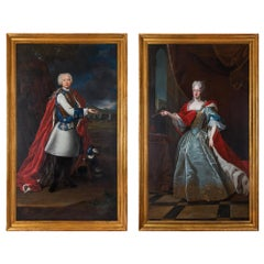 Pair of 18th Century École Française Oil on Canvas Portraits