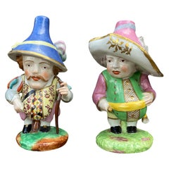 Pair of 18th Century English Attributed to Derby Porcelain Dwarfs