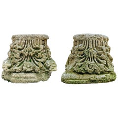 Pair of 18th Century English Carved Stone Capitals