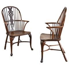 Pair of 18th Century English George III Yew Wood Cabriole Leg Windsor Armchairs