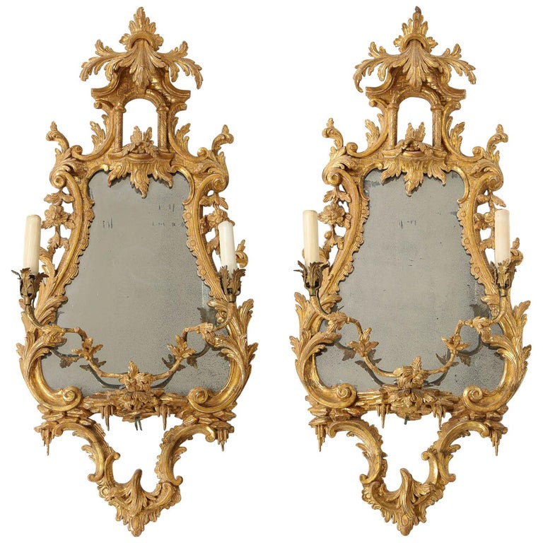 Pair of 18th Century English Giltwood Chinoiserie Mirrors with Candleholders For Sale