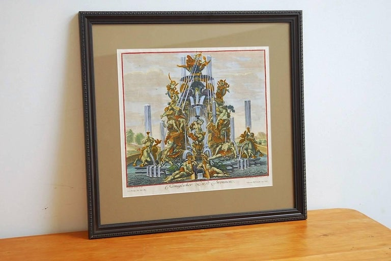 Greco Roman Pair of 18th Century Etchings Fountain Scenes by Paul Decker For Sale