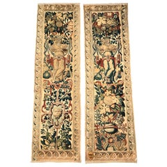 Pair of 18th Century Flemish Handwoven Portiere Wall Hanging Tapestries